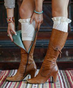Look at this #zulilyfind! Ivory Lace Pointelle Boot Cuffs - Women by Three Bird Nest #zulilyfinds