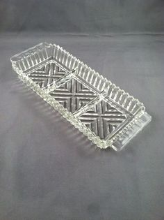 Pressed glass etched relish tray by DotnBettys on Etsy, $7.00