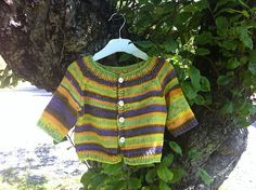 Nice colours. Ravelry: Project Gallery for 0-684 Baby Cardigan with Short/Long Raglan Sleeves pattern by DROPS design