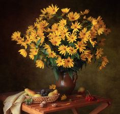 Still life with autumn flowers - null