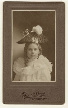 ADORABLE LITTLE GIRL WITH A TRIANGLE HAT IN LAFAYETTE, INDIANA (VINTAGE PHOTOGRAPH)