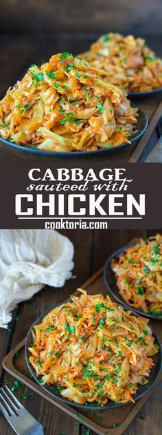 Succulent cabbage sauteed with tender chicken and vegetables. Just a few ingredients and about 15 minutes of active time make up this delicious dinner. This is my #1 Best Recipe yet! ❤ http://COOKTORIA.COM