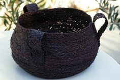handbraided in greece raffia basket ebony black