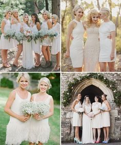 A Stylish Wedding Trend for 2015 | White Bridesmaids Dresses | www.onefabday.com