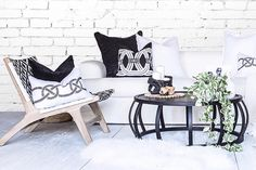Black and white themed space completed with texture, lovely shot by Uniqwa Furniture #texture #interior #cushions #furniture #love #monotone #black #white #living #home #design #inspiration #thursdayinspo #lovely #decor #styling