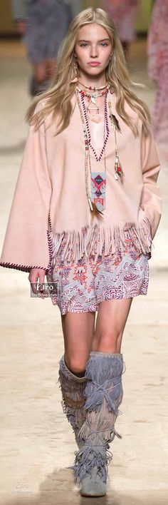 Native American Inspired Fashion - Fringed Top, Medicine bag Necklace, Knee High Fringe Moccasins