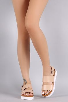 509de2dc5e8 Description These stylish flatform sandals feature two vegan leather bands