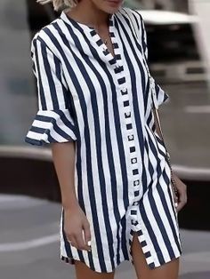 2019 Women Blouse Dress Ladies Striped Long Shirt Dress Loose Button Women Striped Half Sleeve Vintage Female Vestidos Size S Color Blue Half Sleeve Shirts, Bell Sleeve Shirt, Shirt Sleeves, Half Sleeves, Casual Dresses, Fashion Dresses, Dresses Elegant, Cheap Dresses, Summer Dresses For Women