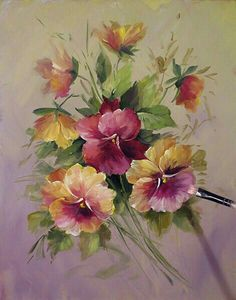 Pansies Art Print Pansies Print By David Jansen Arte Floral, China Painting, Tole Painting, Decoupage, Oeuvre D'art, Vintage Flowers, Pansies, Painting Inspiration, Art Lessons
