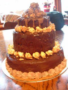 Chocolate, salted caramel and popcorn cake.