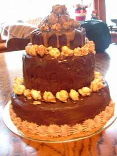 Chocolate, salted caramel and popcorn cake.