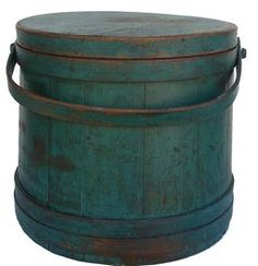 "Early to mid 19th century, Large Firkin, New England origin, Beautiful Original blue/ green painted surface, with nice wear. A great collectible bucket, that was once used to hold flour, sugar or dry goods in the country home pantry. Fingers laps have copper tacks no staples used in this Firkin . Large size great for the bottom of a stack. Measures 13 1/2"" tall 14 1/4"" across the top 14 1/4"" across the bottom"