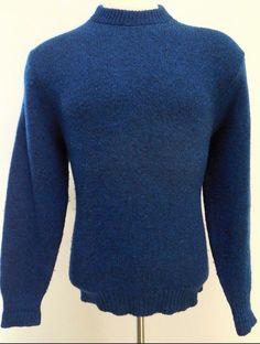 LL Bean SWEATER Men L Blue CREW Neck HEAVYWEIGHT Wool NYLON Vintage FREEPORT Me…