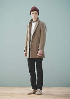 MARKA - F/W 2013 COLLECTION LOOKBOOK : maroon beanie, tan coat & shoes