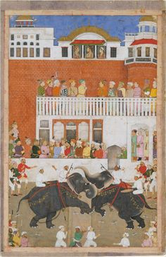 Mughal Emperor Shah Jahan Watching an Elephant Fight, Folio from a Padshahnama - 17th Century Mughal Painting