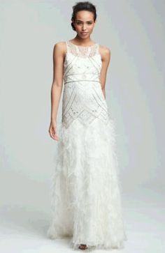 Sue Wong Feather Beaded Gown