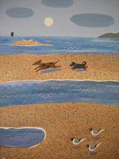 Amanda White - Contemporary Naive Art: A Run on the Beach