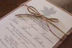 Burlap Wedding Invitation,Rustic Wedding Invitation,Fall Wedding Invitation, Leaf Wedding Invitation, Twine Wedding Invitation by CCPrintsbyTabitha on Etsy https://www.etsy.com/listing/192932591/burlap-wedding-invitationrustic-wedding