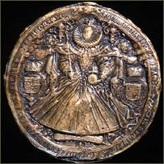 Elizabeth I used this great seal during the second half of her reign - from 1586 to 1603. It is an impression from seal matrix made of bronze and was engraved by Nicholas Hilliard, who was famous for his small paintings or miniatures. The matrix was used to create wax impressions that were used to 'seal' documents. This was a means of proving that the accompanying document had been written or approved by the owner of the seal.