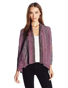 Leo  Nicole Womens Missy 34 Sleeve Boxy Open Cardigan Sweater Geode Large >>> Want to know more, click on the image.