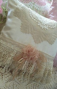 I made some ribbon roses and put on a lace applique to my throw pillow. Sewing Pillows, Diy Pillows, Decorative Pillows, Lace Pillows, Cushions, Throw Pillows, Vintage Quilts, Vintage Fabrics, White Lace Bedding