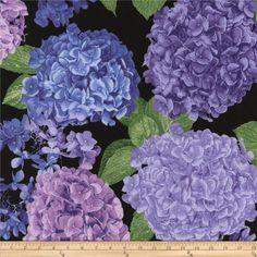 Timeless Treasures Hydrangea Large Hydrangea Toss Black