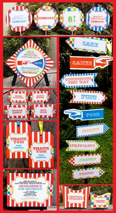 Carnival Party Circus Party Invitation & Printable Birthday Collection, EDITABLE text PDF file - you personalize at home with Adobe Reader. $14.95, via Etsy.