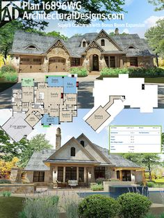 Architectural Designs Craftsman House Plan 16896WG has a rugged stone and stucco exterior and gives you 3 beds plus bonus expansion over the garage.  Ready when you are. Where do YOU want to build?