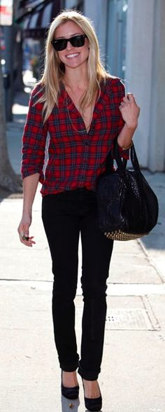 Skip the shoes. And the shirt could be a wee bit more modest - but cute outfit. - Plaid with black jeans