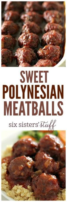 10 Most Misleading Foods That We Imagined Were Being Nutritious! Sweet Polynesian Meatballs Recipe From Sixsistersstuff Makes An Easy Meal For The Family. Meatball Recipes, Beef Recipes, Cooking Recipes, Budget Cooking, Vegetarian Cooking, Easy Cooking, Potato Recipes, Pasta Recipes, Yummy Recipes