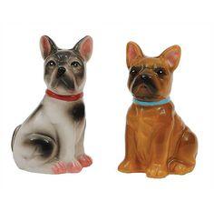 Ceramic Salt & Pepper Shaker Set - French Bulldogs
