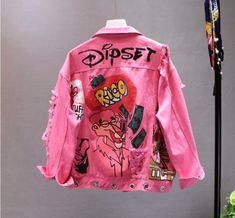 New Spring Autumn Jeans Jacket Vogue Letter Graffiti Printing