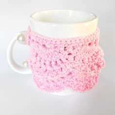 Crochet cup cozy in girlie PINK 100% cotton yarn. I think we might need these @Erin Morgan