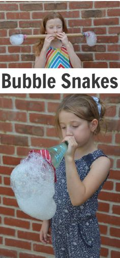 Make awesome bubble snakes and create your very own bubbly science investigation! all you need is an empty bottle, sock or cloth and bubble mix. Bubble Games For Kids, Art Games For Kids, Bubble Activities, Summer Activities For Toddlers, Science Experiments For Preschoolers, Science For Kids, Infant Activities, Summer Science, Bubble Snake
