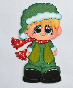 Paper Piecing Boy Elf for Premade Scrapbook Page Layout Christmas CraftECafe
