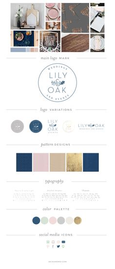 Branding Style Guide for Lily & Oak Weddings and Events, Raleigh, NC-- Logo design, logo variations, patterns, color palette, and typography! LOVE this!
