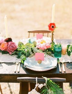 Boho tablescape with pops of pink