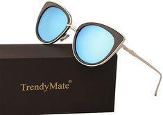 5a7dbe8c32 Amazon.com  TrendyMate Women Metal Cute Cat Eye Sunglasses Mirror Lens  Coating Sunglasses Fashion Eyewear (blue