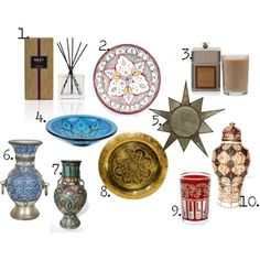 1. moroccan amber reed diffuser. nest. $34 2. maha moroccan ceramic plate. just morocco. $39 3. votivo moroccan fig scented candle. harvey nichols. $45 4. turquoise serve bowl. casablanca market. $68 5. painted metal moroccan star frame. fleur. 6. ceramic moroccan vase from fez. mosaik. 7. moroccan urn. just morocco. $1,400 8. handcarved moroccan brass tray. moroccan prestige. $125 9. red moroccan tea glass. momo interiors. $6 10. moroccan vase. just morocco. $520