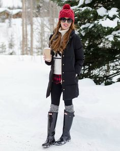 Kate spade winter look autumn photo shoot winter looks, kleid winter, outfi Casual Winter Outfits, Snow Outfits For Women, Winter Boots Outfits, Winter Outfits For School, Cold Weather Outfits, Outfits For Teens, Winter Clothes, Ski Outfits, Outfit Winter