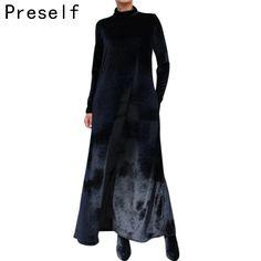 2016 Sexy New Women Elegant Wrap Dresses Turtleneck Loose Oversize Winter Party Maxi Long Velvet Dress Vestidos