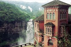 """addictions: """" odditiesoflife: """" Abandoned (Haunted) Hotel in Colombia The Hotel del Salto is located near Tequendama Falls on the Bogotá River in Colombia. It was opened in 1924 and shut its doors in. Haunted Hotel, Most Haunted, Haunted Places, Places Around The World, Oh The Places You'll Go, Places To Visit, Around The Worlds, Visit Colombia, Colombia Travel"""