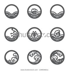 Design in round shape and good for use as orient ocean sea symbols or signage or traditional logo. For the product from water or freshness eco conceptual. Simple Flower Drawing, Simple Line Drawings, Set Design, Icon Design, Design Web, Celtic Patterns, Ui Patterns, Waves Icon, Chinese Patterns