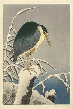 Heron In Snow after 1930 Ohara Koson (Shoson) , (Japanese, 1877 - Showa era Woodblock print; ink and color on paper H: W: cm Japan Japanese Artwork, Japanese Painting, Japanese Prints, Chinese Painting, Chinese Art, Japanese Bird, Ohara Koson, Art Chinois, Art Asiatique