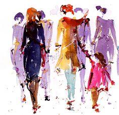 Illustration aquarelle foule Urbaine aquarelle par AtelierAquanell