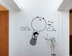 If you don't have any idea of how to turn your wall into some decorating, then you definitely have to try these wall sticker for it. Simple Wall Paintings, Wall Painting Decor, Mural Wall Art, Kids Wall Decor, Room Decor, Desenho Kids, Craft Stickers, Wall Stickers Planets, Wall Drawing