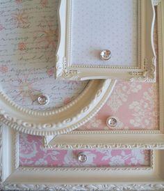 Magnet board.  Tin scissors, cut cookie sheet, cover scrapbook paper, frame.