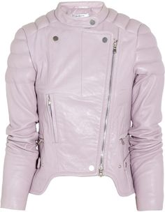 Carven Purple Leather Biker Jacket