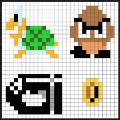 Super Mario items perler bead pattern by Kyle McCoy