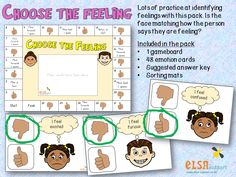 Choose the Feeling cards Each card has a thumbs up or a thumbs down section. The child has to say whether the feeling is correct or not. Print onto card an. Feelings Games, Whiteboard Pens, Emotions Cards, Social Emotional Activities, Hand Signals, Little Learners, Coping Skills, Small Groups, Teaching Resources